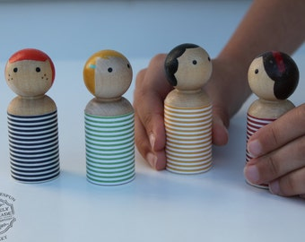 Peg Doll, Peg People, Peg Wooden Play Doll Set Waldorf Toy- Set of 4 Doll House