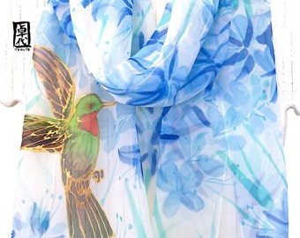 Silk Scarf Handpainted, Hummingbird Art, Hummingbird Gift, bird artist, bird scarf, Blue Scarf, Hummingbird with Blue Flowers, Made to order