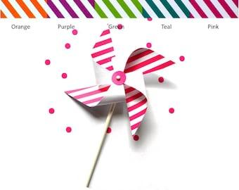 Striped Pinwheels - Set of 6 - Pinwheel Cupcake Toppers - Pinwheels - Pinwheel Favors - Party Favors