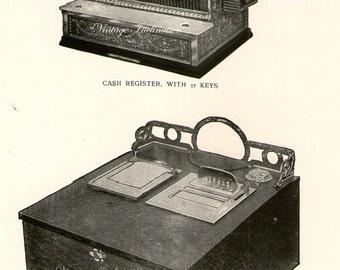 Antique Print, CASH REGISTERS Chart 1 1908 wall art vintage b/w photogravure Edwardian illustration