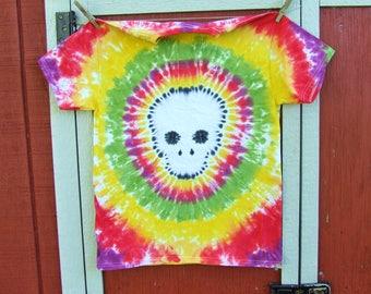 Adult Medium Tie Dye T-Shirt - Skull- Ready to Ship