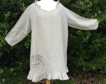Natural linen tunic dress with ruffle hem, trendy plus size clothing, plus size womens clothing, ready to ship