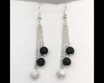 Earrings howlite and lava rock beads