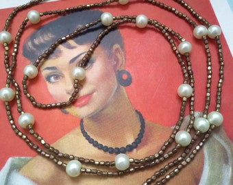 Vintage flapper necklace, 1920s style necklace with bronze beads and faux pearls