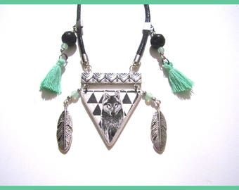 Necklace black and White Wolf totem