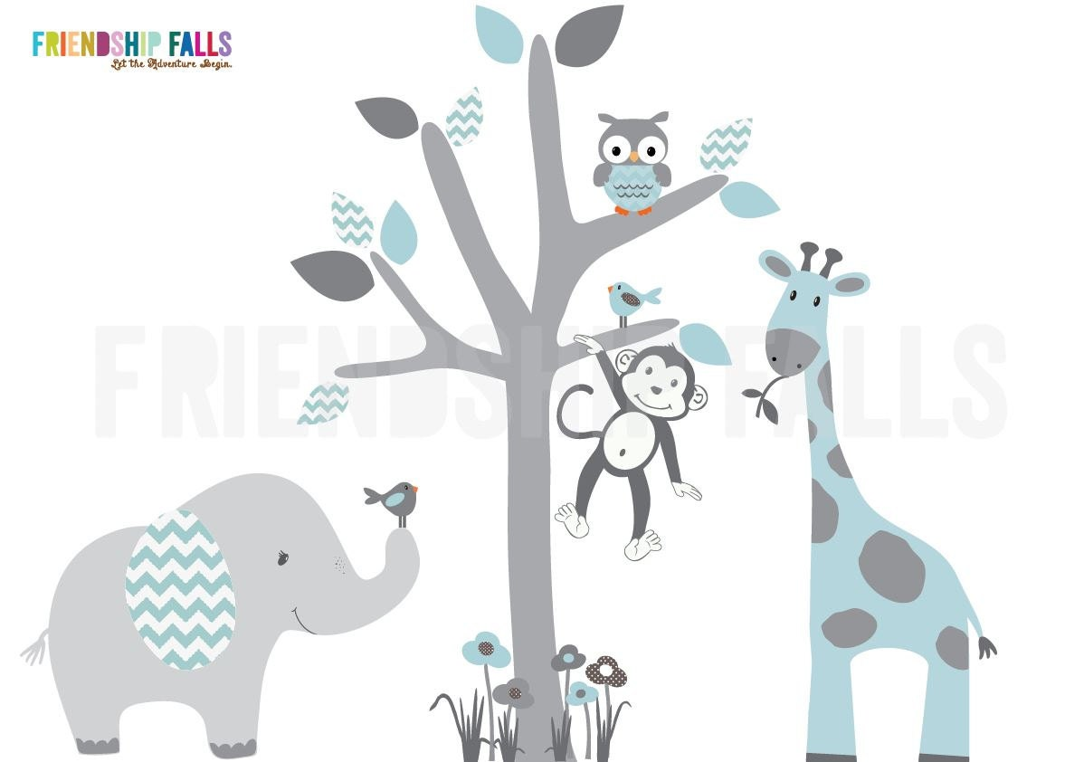 Über Krippe Jungle Wandtattoo Wandtattoo Elefant Giraffe