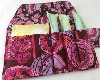 Privacy Pouch - Tampon Case - Sanitary Pad Case - Fabric Tampon Holder - Purple Tampon Bag  - Amy Butler Bright Heart Coco Bloom in Plum