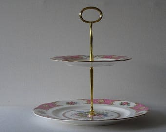 Royal Albert Lady Carlyle Cake Stand 2 Tiers Made in England