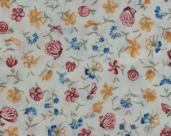Cotton Fabric / Red, Blue and Yellow Floral Fabric / Floral Cotton Fabric / Butterfly Cotton Fabric / Cotton Calico Fabric / 1980s Fabric