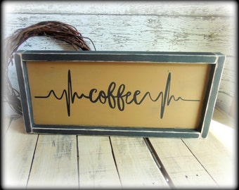 Coffee Bar Sign - Kitchen Sign - Coffee Decor - Cafe Sign - Rustic Kitchen Decor - Handmade Wooden Sign - Gift For Coffee Lover - Word Art