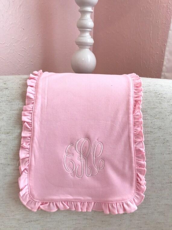 Monogrammed Ruffled Cotton Burp Cloth