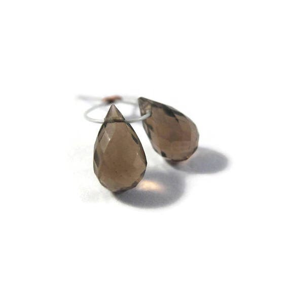 Matched Pair of Smoky Quartz Beads, Two Natural Gemstone Briolettes, 7mm x 5mm - 8mm x 5mm, 2 Stones for Making Jewelry (B-Sq6b)
