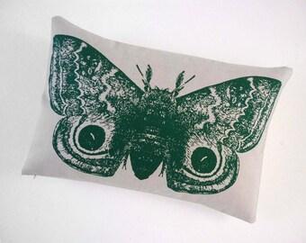 Giant IO Moth silk screened cotton canvas throw pillow green18x12