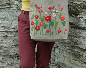 Hand embroidered tote, natural linen tote, flower bag, vintage linen bag, floral tote, fabric bags, rustic style, eco friendly, Gift for mom