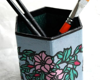 Blue Pink Flower Hanji Pen Holder Pencil Case Desktop Handmade Flower Green Red Floral Design Desk Organizer Pencil Container Pencil Tub