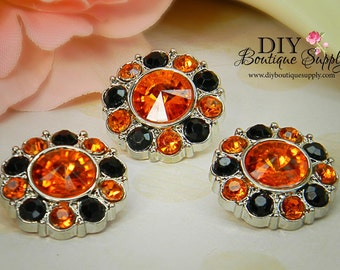 5 pcs HALLOWEEN Rhinestone Embellishments - Rhinestone Buttons Orange & Black Acrylic Flower centers Headband Supplies 15mm 1770431