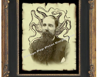 Steampunk Octopus Man Art Print 8 x 10 - Altered Art - Victorian