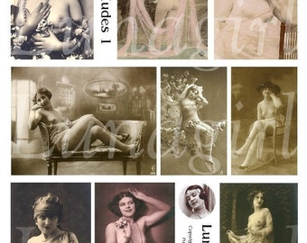 VINTAGE NUDES digital collage sheet French postcards vintage photos women flappers risque Victorian nudes pink altered art ephemera DOWNLOAD