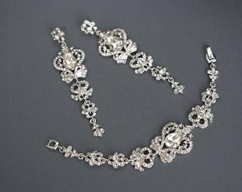 Crystal Bridal Jewelry Set, Wedding Jewelry Set, Crystal Jewelry set, Bridal Earring, Wedding Earring, Bridal Bracelet, Wedding Bracelet