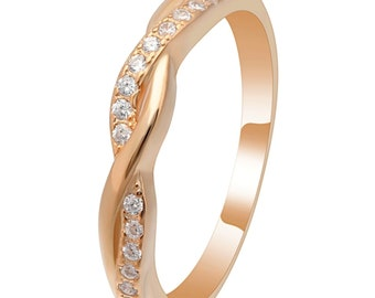 Ginger Lyne Collection Queena Twisted Rose Gold over Sterling Anniversary Wedding Band Ring