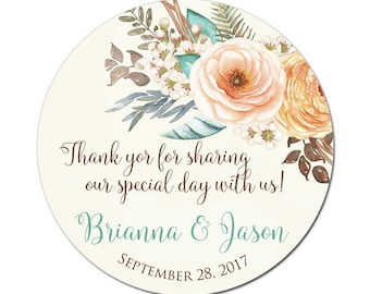 Custom Wedding Labels Personalized Peach Teal and Brown Floral Bouquet Round Glossy Designer Stickers - Quantity 100