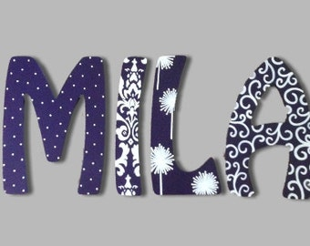 Damask U0026 Dandelions Letters Wooden Wall Painted Letters Wooden Name Wall  Hanging Nursery Letters Baby Name