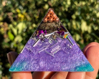 Powerful Orgone Pyramid - Pyrite - Self Care - Handmade - EMF Protection