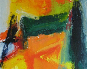 SALE! Silt Fence Original Abstract Painting 14 x 16 brilliant color, orange, forest green, yellow