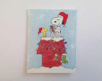 Snoopy and Woodstock Christmas greeting cards - hand drawn, made to order, envelopes included