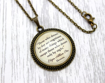 Edgar Allan Poe, 'Those Who Dream By Day', Eleonora Quote Necklace or Keychain, Keyring.