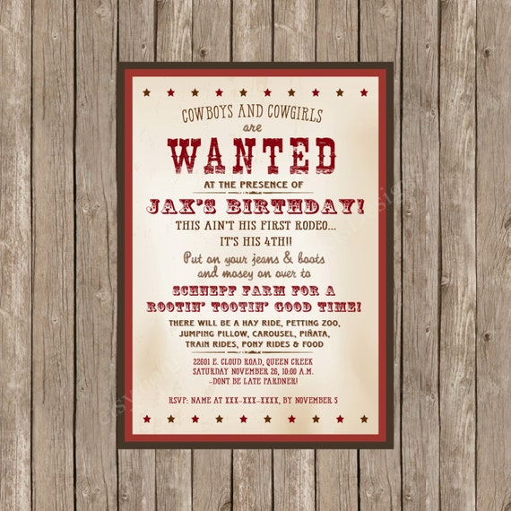 Western Themed Birthday Invitation Printable Wanted Poster