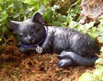 Black Cat Statue, Black Cat Decor, Witches Cat, Halloween Black Cat, Black