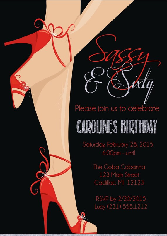 Red shoe 60th birthday invitation womens sassy sixty filmwisefo Images