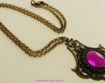 Tudor Medieval Amethyst Purple Pendant Necklace larp ren sca