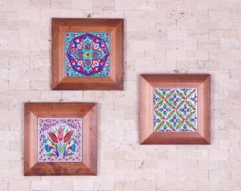 3x Handmade Handpainted Turkish Ottoman Design Wall Art Ceramic Tile Natural With Wood Frame