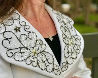 1970s Lilli Ann White Suit with beading size L