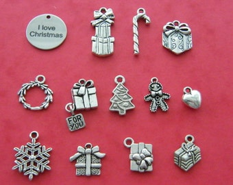 The I love Christmas collection - 13 different antique silver tone charms