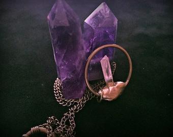 Raw Quartz Necklace, Gold Leafed Real Quartz Necklace, Healing Crystal Necklace, Raw Crystal Necklace, Natural Gemstone Crystal Jewelry