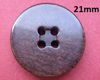 10 buttons Dark brown 21 mm (3533) button Brown