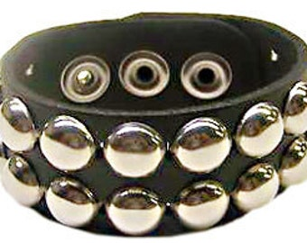 """1-1/4"""" - 32mm Wide Genuine Leather studded Wristband with two rows 1/2"""" Stainless Steel Round Dome Studs and snaps bracelet Rock Made in USA"""