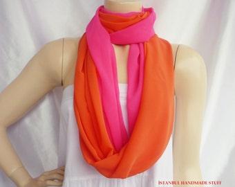 Neon Pink and Orange -Infinity Scarf/Circle Scarf /Loop Scarf