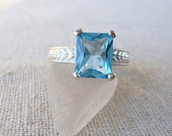 USA Swiss Blue Topaz Genuine Natural Vintage Style Ring set in Sterling Silver - One of a Kind