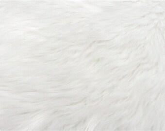 White Luxury Shag Faux Fur Fabric