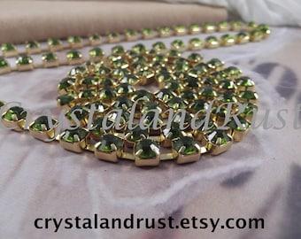 6mm---Olivine Rhinestone Cup Chain --- Gold Base Metal --- 1 yard (36 inch)