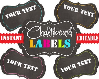 Chalkboard Labels -Printable Labels - INSTANT and EDITABLE - Pantry Labels, Bathroom Labels, Office Labels, Organization Tags