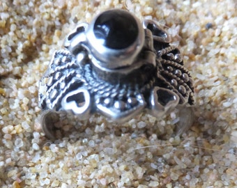 Onyx and Sterling Poison Ring....... size 9.5