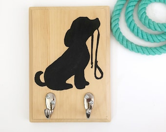 Chalkboard Paint Leash Holder | Dog Leash Hanger | Dog Art | Dog Silhouette | Wall Decor | Housewarming Gift