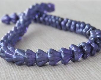 Purple Salvia Czech Glass 4x6mm Baby Bell Flower : 25 Purple Flower Beads