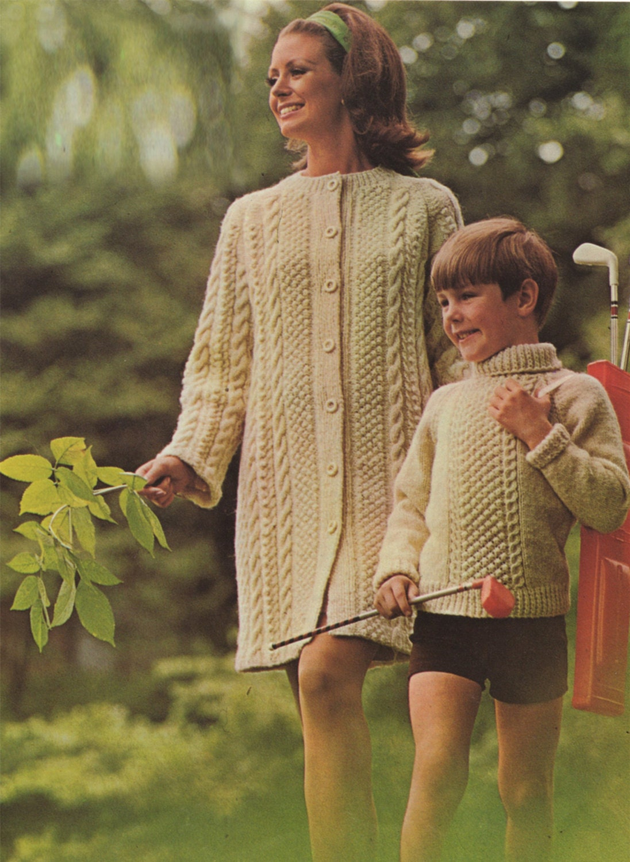Womens Aran Coat and Boys or Girls Aran Sweater Knitting Pattern PDF ...