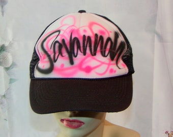 2a9ef856 Savannah Hat Airbrushed Hat 80's Vintage OOAK Great Gift Low & Fast Shipping